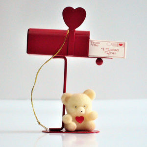 Valentine Teddy on Red Mail Box Ornament